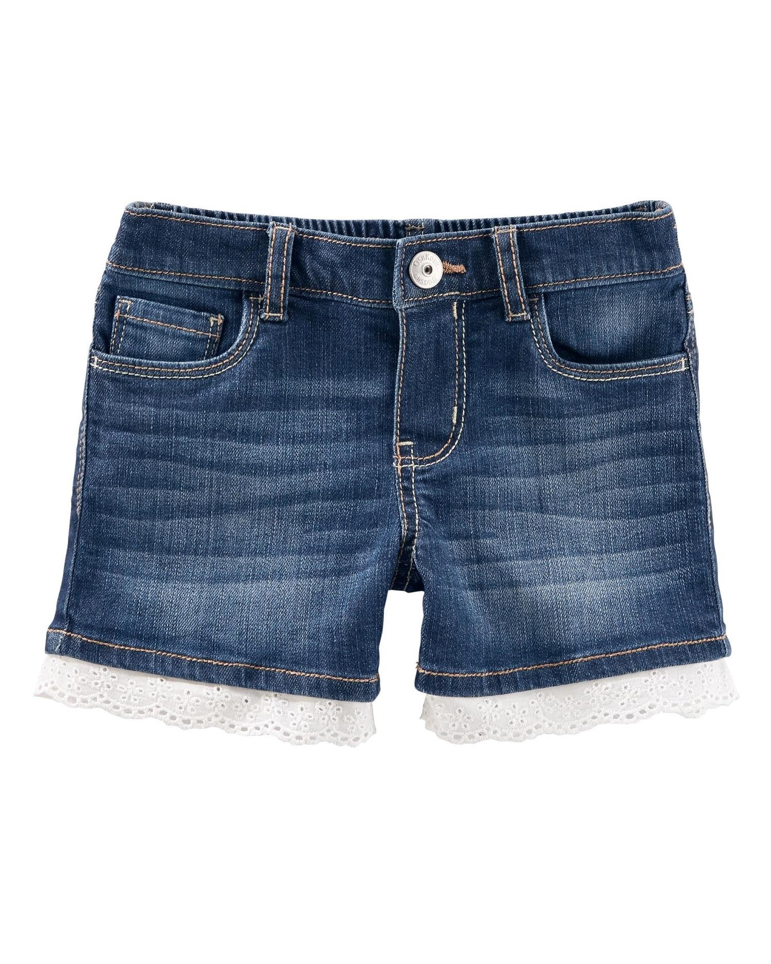 OshKosh B'gosh Big Girls' Eyelet Denim Shorts