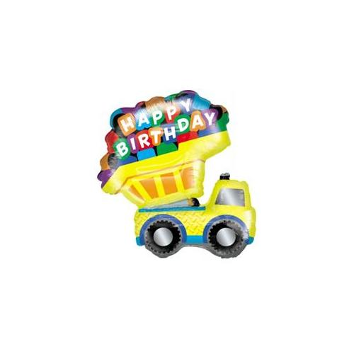 "XL 33"" Dump Truck Happy Birthday Super Shape Mylar Balloon Party Decoration"