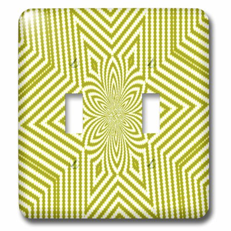- 3dRose Textile Pattern Lime Green And White Large Star - Double Toggle Switch (lsp_18473_2)