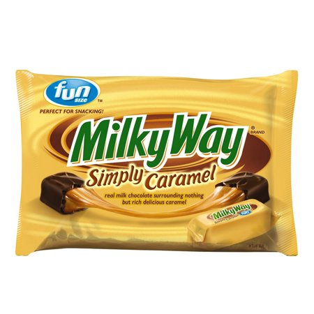 (4 Pack) Milky Way, Simply Caramel Milk Chocolate Fun Size Halloween Candy Bars, 10.73 Oz (Candy Crush Halloween)