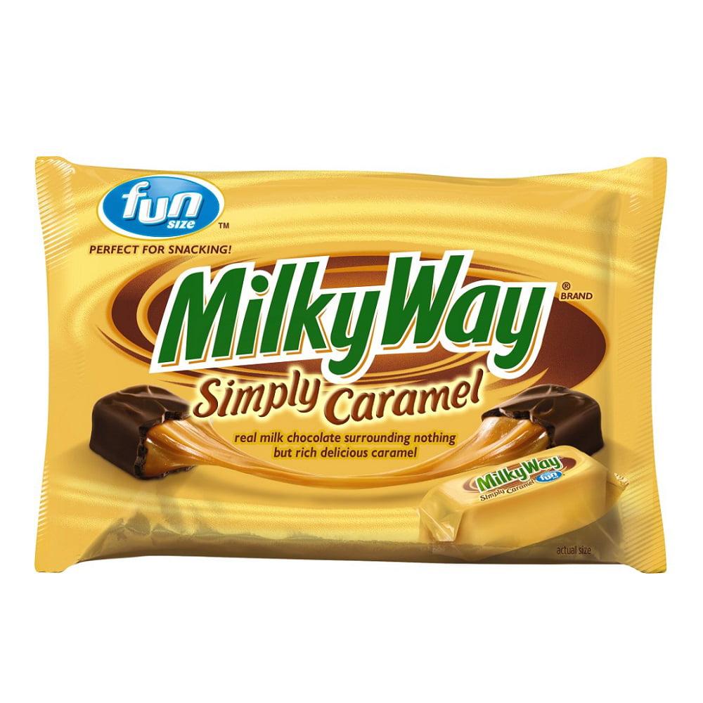 (4 Pack) Milky Way, Simply Caramel Milk Chocolate Fun Size Halloween Candy Bars, 10.73 Oz