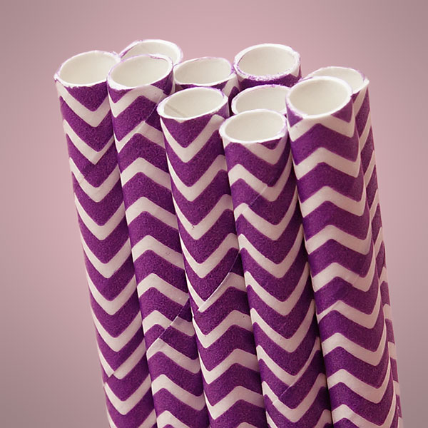 10 ct. Purple Chevron Paper Straw | Quantity: 10 | Length - 7 3/4"