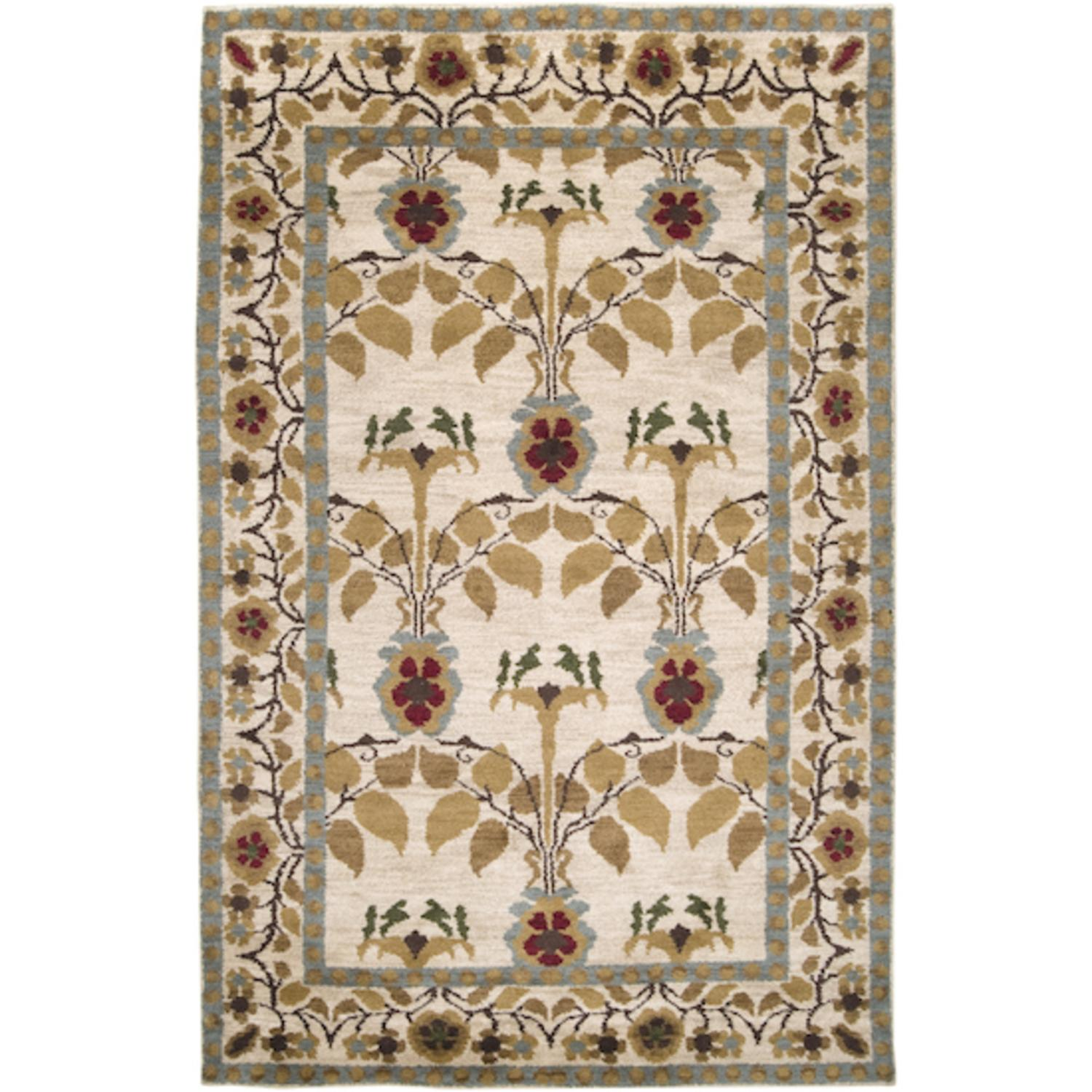 2' x 3' Flower Labrynith Desert Sand and Maroon Red Wool Area Throw Rug