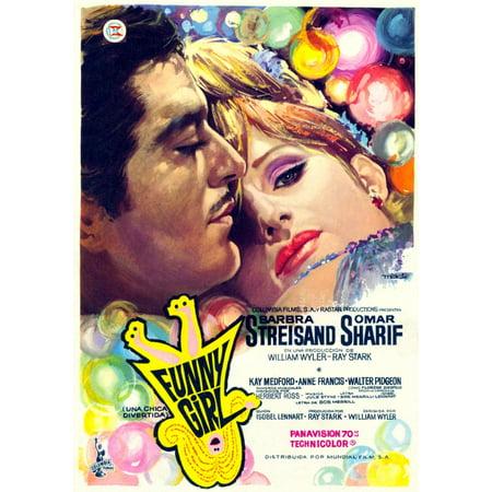 Funny Girl From Left Omar Sharif Barbra Streisand Spanish Poster 1968 Movie Poster Masterprint ()
