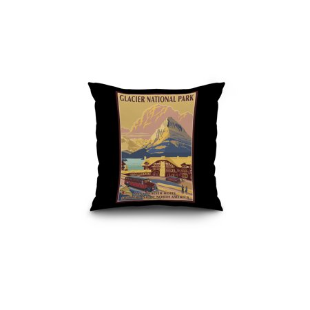 Glacier National Park  Montana   Many Glacier Hotel   Lantern Press Artwork  16X16 Spun Polyester Pillow  Black Border