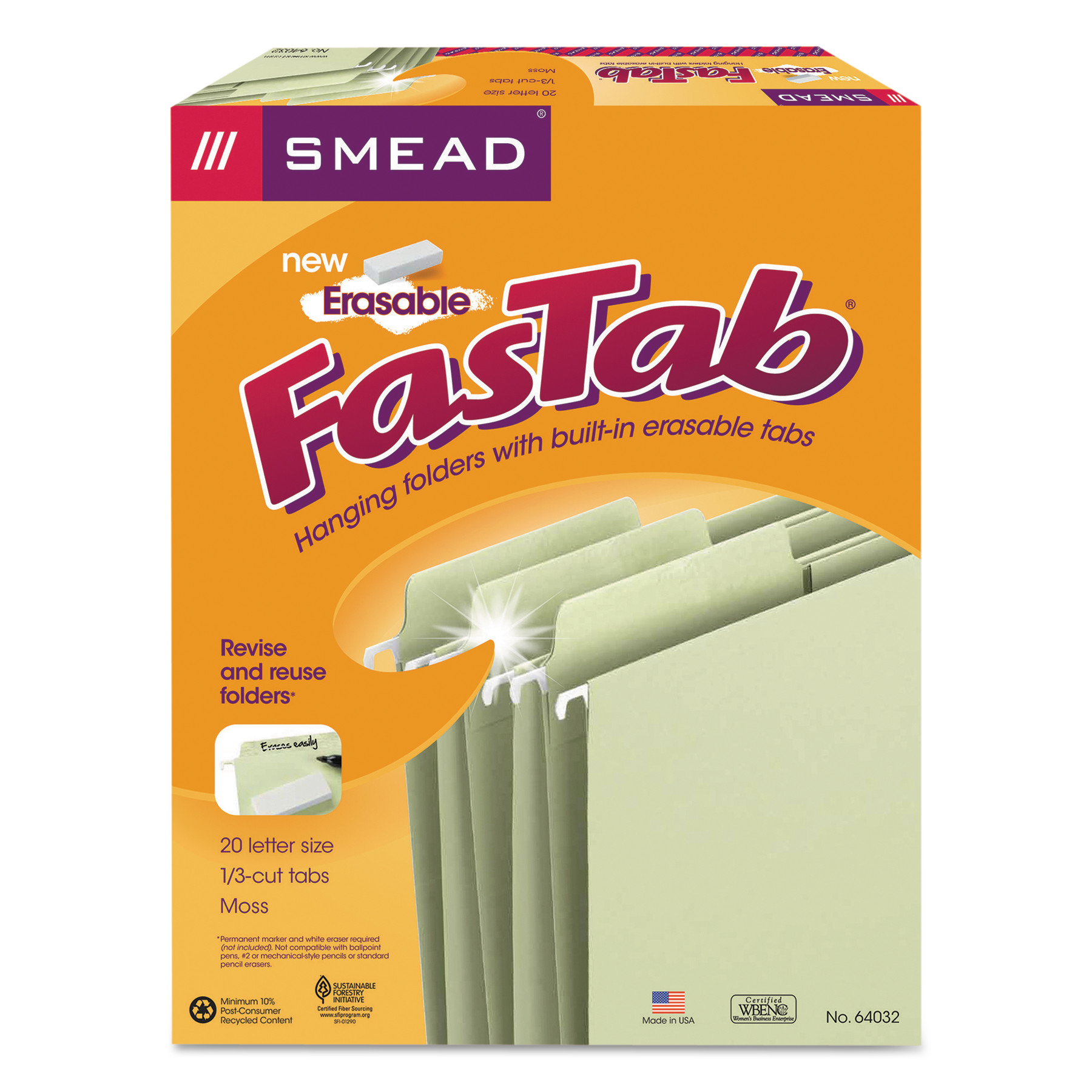 Smead Erasable FasTab Hanging Folders, 1/3-Cut, Letter, 11 Point Stock, Moss, 20/Box -SMD64032