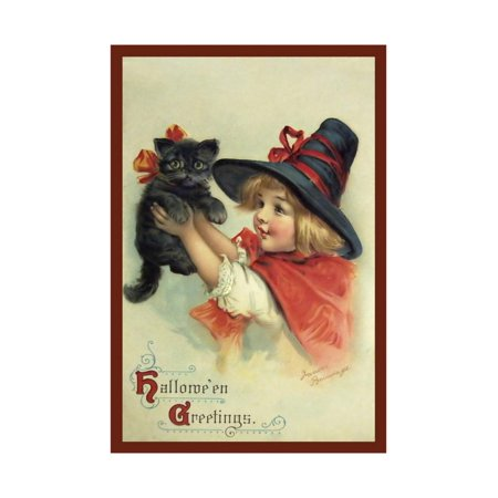 Little Witch and Halloween Kitty Print Wall Art By Vintage Apple Collection