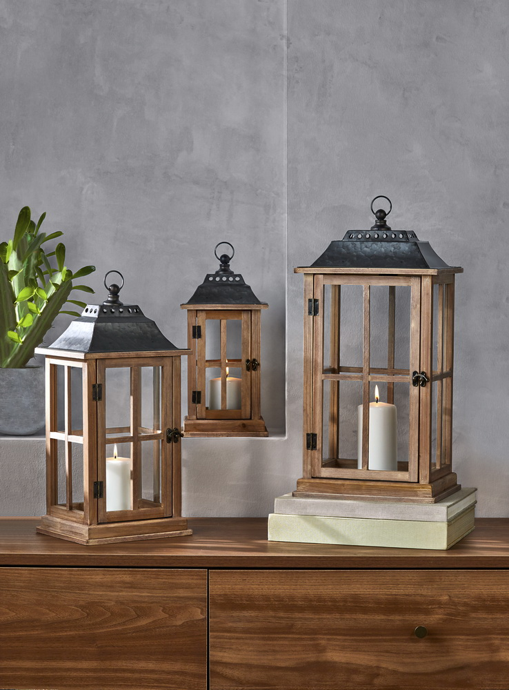 Better Homes And Gardens Rustic Wood Candle Holder Lantern Large Walmart Com Walmart Com
