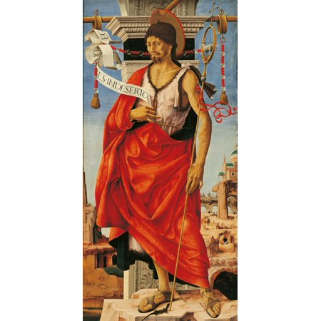 Griffoni Polyptych St John The Baptist Canvas Art - (24 x 36)