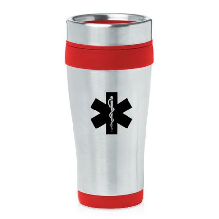 Red 16oz Insulated Stainless Steel Travel Mug Z748 Star of Life - Red Insulated Travel Mug