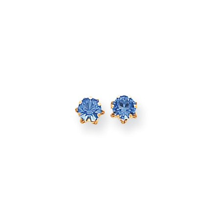 Kids 5mm Synthetic Sapphire Birthstone 14k Yellow Gold Stud Earrings (Child Birthstone Jewelry)