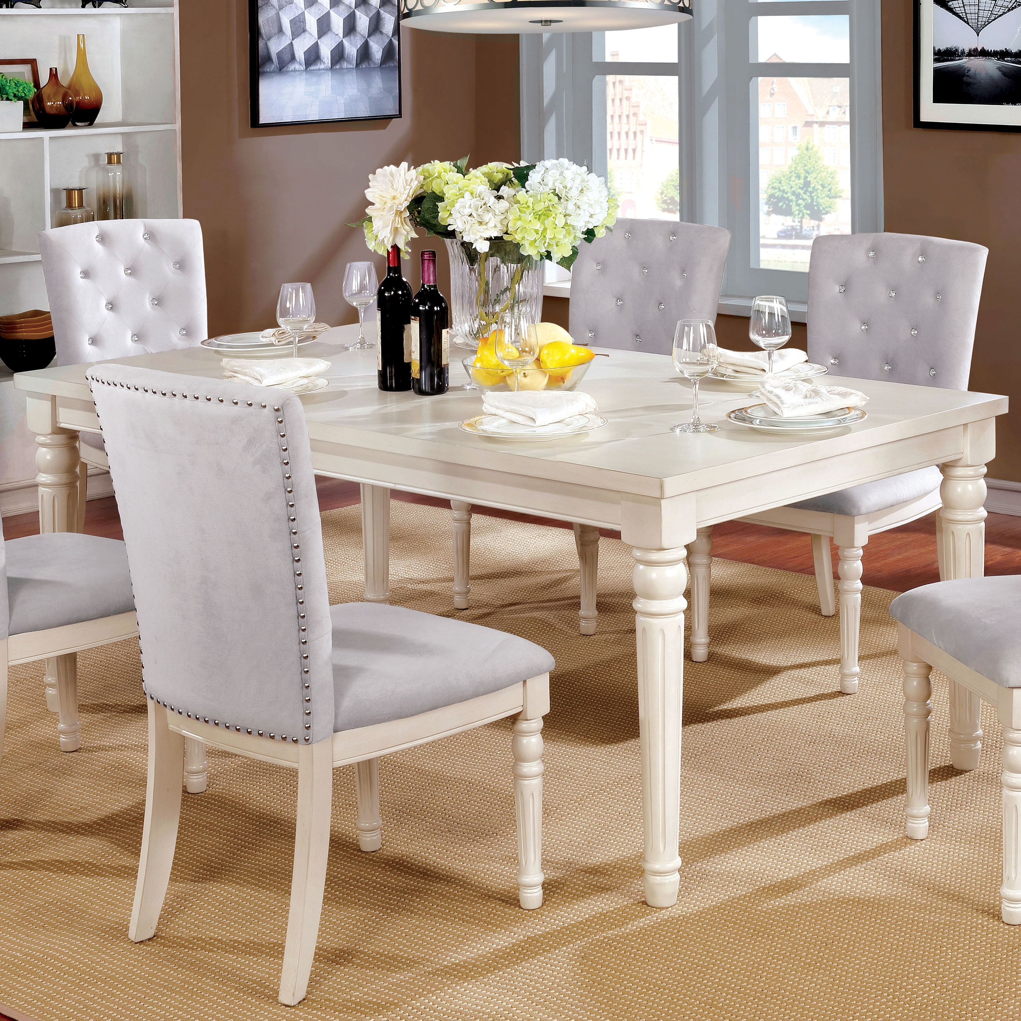 Furniture Of America Gorgenli Classic Distressed Vintage White Wood Dining  Table   Antique White