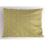 Floral Pillow Sham Hand-Drawn Doodle Yellow Floral Petals in Various Sizes on Grey Background Print, Decorative Standard Queen Size Printed Pillowcase, 30 X 20 Inches, Multicolor, by Ambesonne