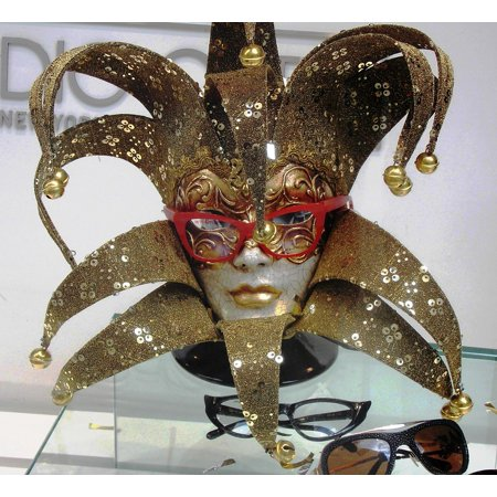 Peel-n-Stick Poster of Deco Mask Sunglasses Carnival Art Glasses Face Poster Print 24x16 Adhesive Sticker Poster - Devo Mask
