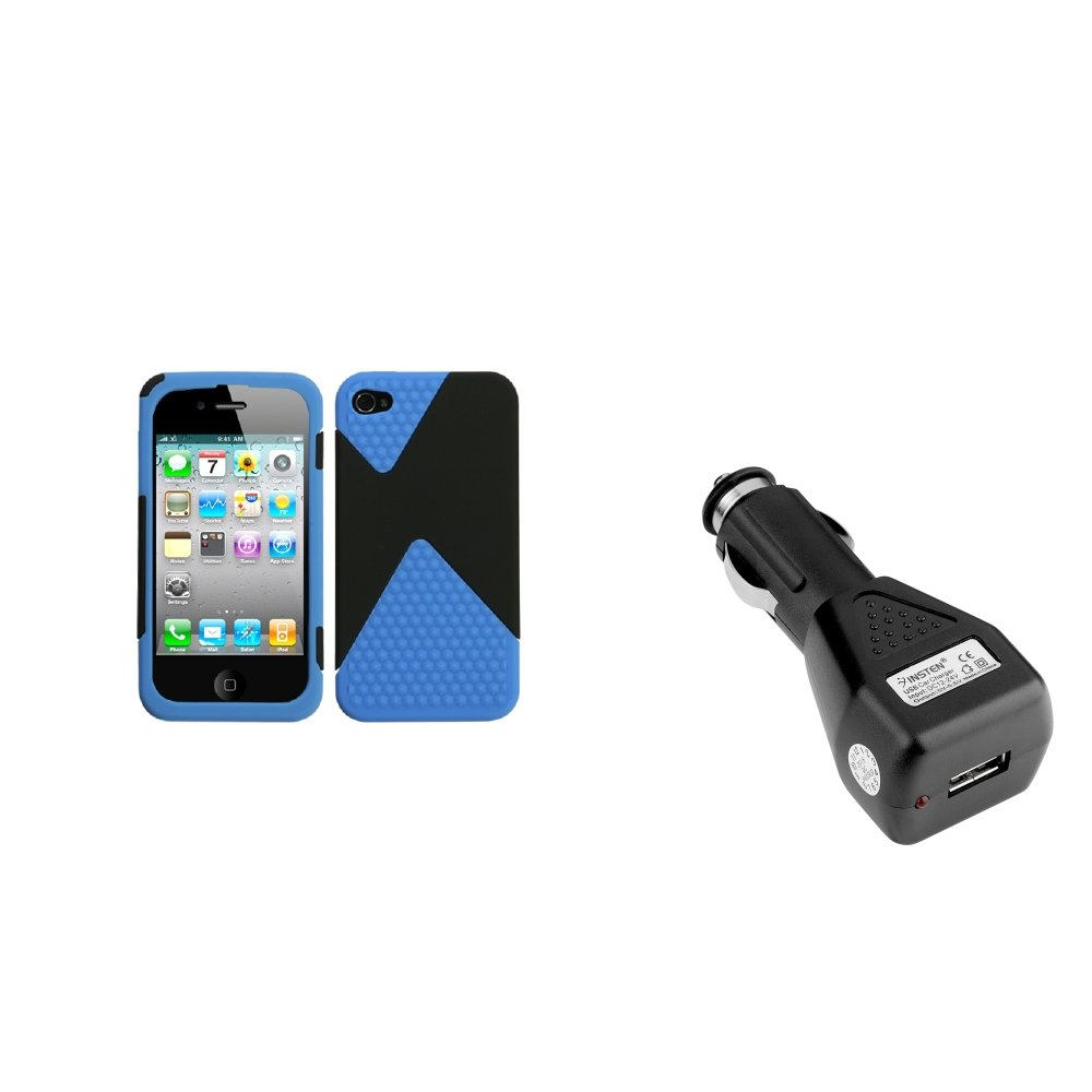 Insten Rubberized Black/Dark Veins Dual Case For Apple iPhone 4 4S + USB Car Charger