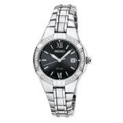 Seiko Women's Solar Diamond Analog Stainless Watch - Silver Bracelet - Black Dial - SUT067