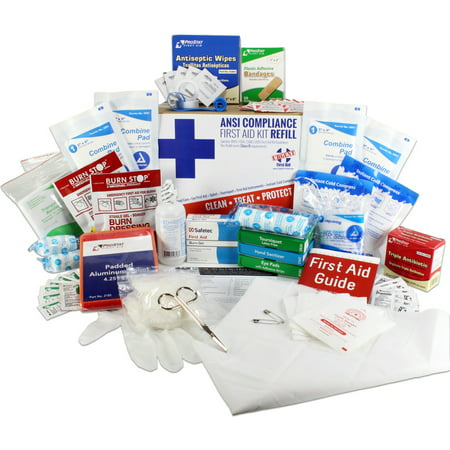 OSHA & ANSI First Aid Kit Refill / Upgrade, 50 Person, 196 Pieces, ANSI 2015 Class B - includes splint, tourniquet, tools, single dose and more