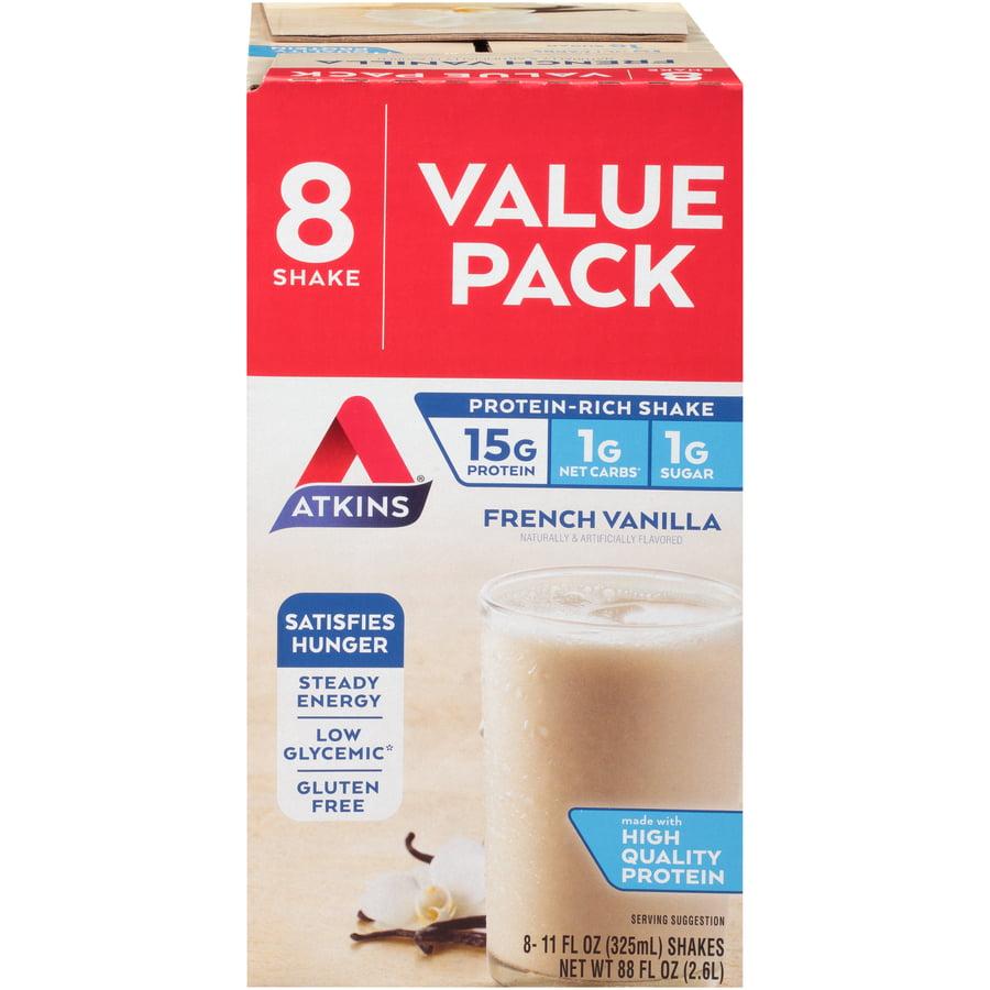 Atkins French Vanilla Shake, 11Fl oz, 8-pack (Ready to Drink)