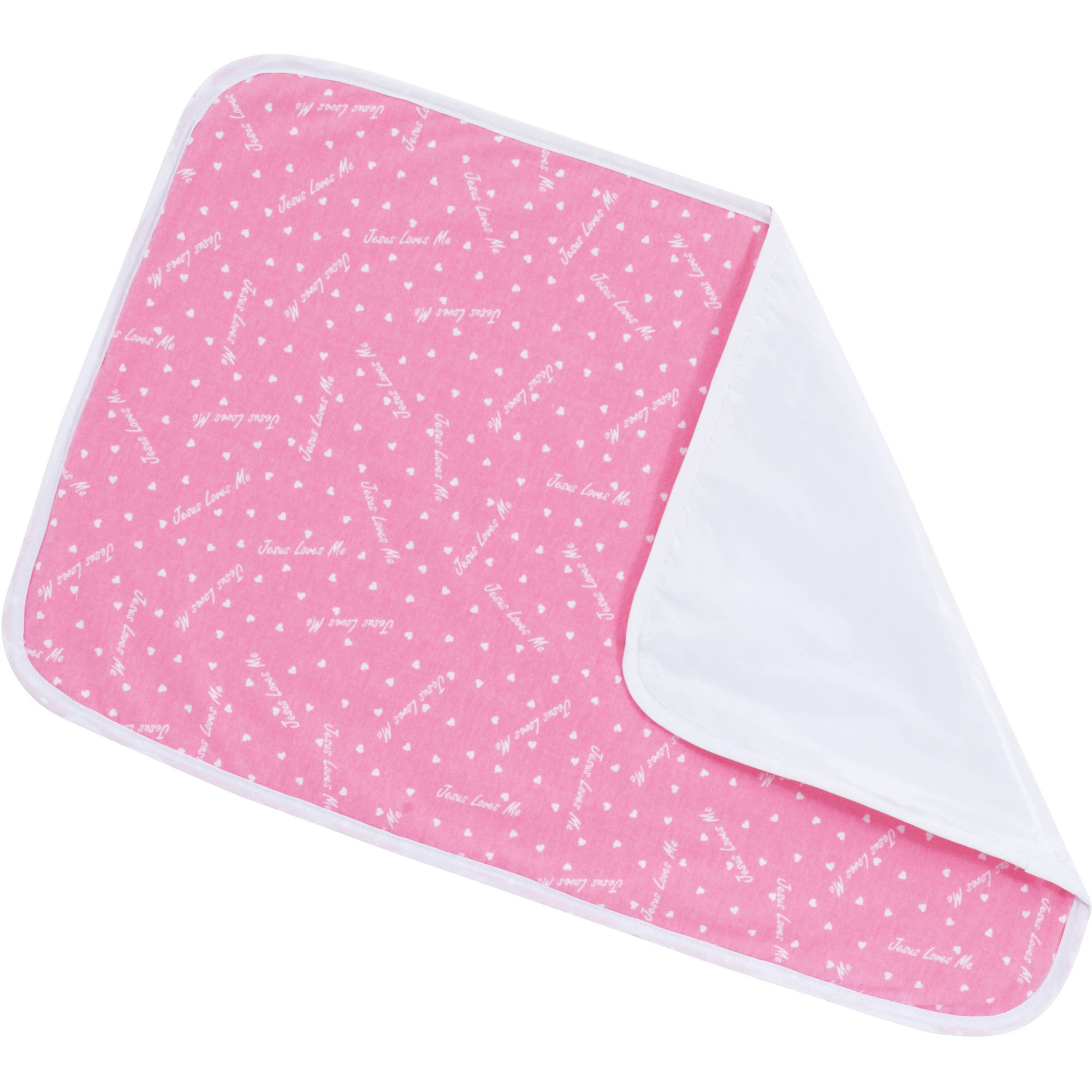 "NuAngel Changing Pad - Bubble Gum Pink ""Jesus Loves Me"""