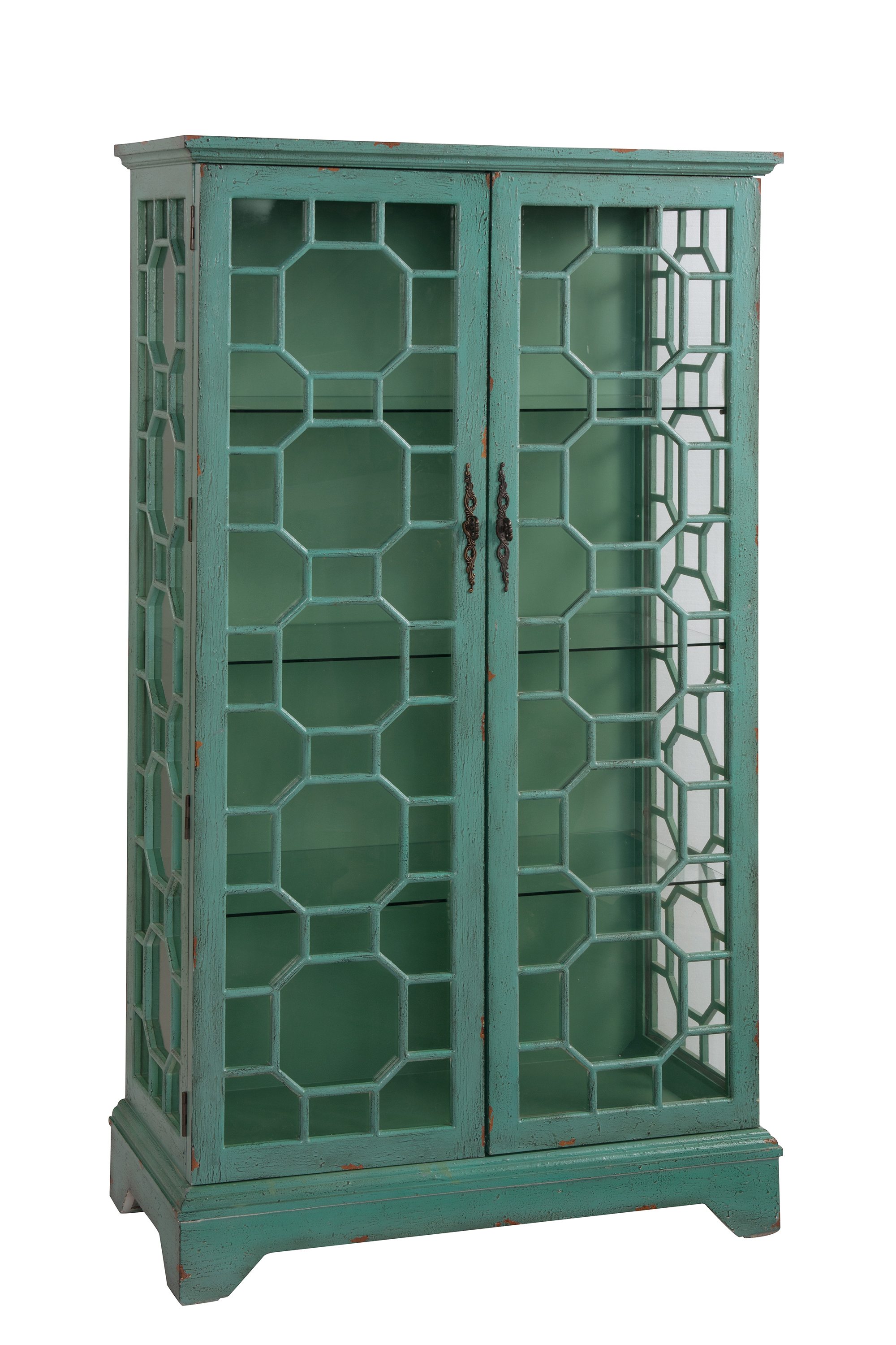 Bayberry Blue Rub-Through Two Door Curio Cabinet by