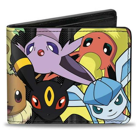 Eevee Evolution Pokemon Close Up Stacked + Pokemon Bi Fold Wallet One