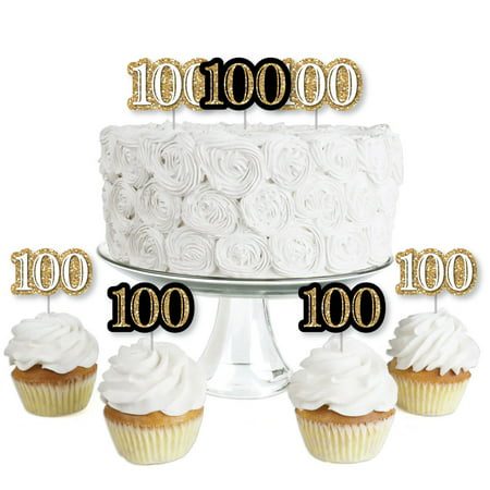 Adult 100th Birthday - Gold - Dessert Cupcake Toppers - Birthday Party Clear Treat Picks - Set of 24](100th Birthday Ideas)