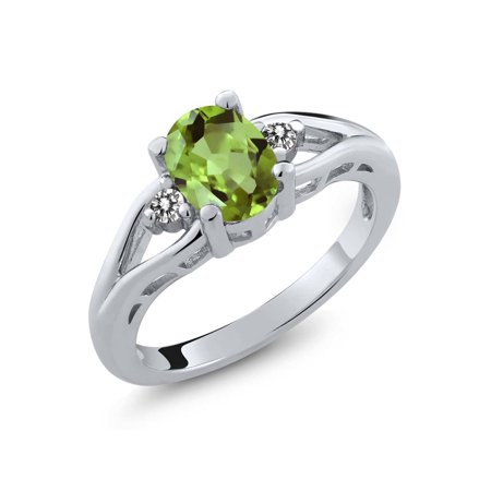 8x6mm Oval Ring Setting (1.50 Ct 8x6mm Oval Green Peridot and White Topaz 925 Sterling Silver Ring )