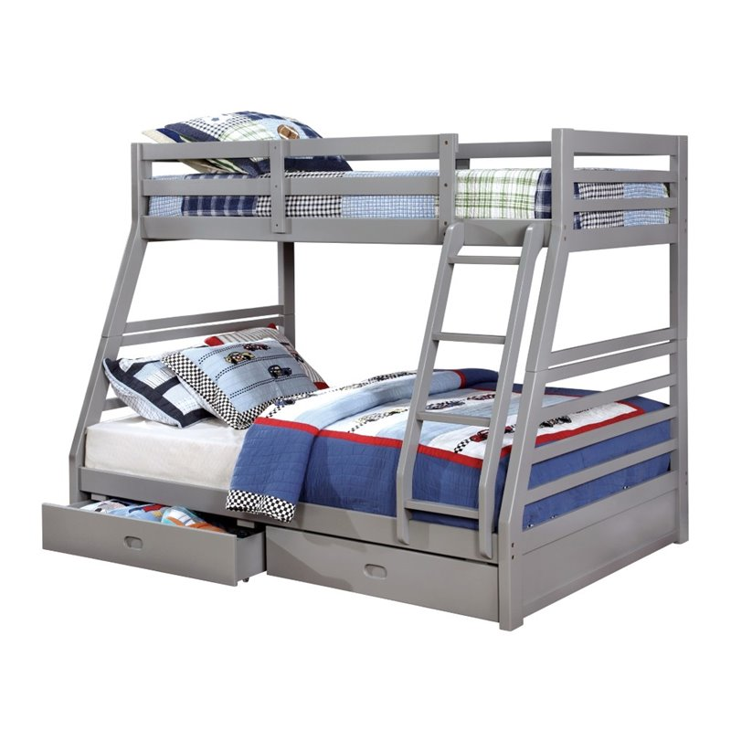 Furniture of America Thaddeus Twin Over Full Bunk Bed in Gray