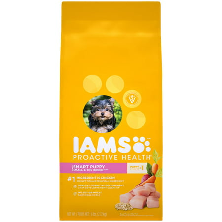IAMS PROACTIVE HEALTH Smart Puppy Small and Toy Breed Dry Puppy Food, 6 lbs: Contains one (1) 6 lb bag of IAMS PROACTIVE HEALTH Smart Puppy Small & Toy Breed Dry Dog FoodReal Chicken is the #1 IngredientFormulated with omega-3 DHA to support healthy cognitive developmentEnriched with antioxidants to help develop a strong immune systemNO Soy, NO Wheat, NO Fillers, and NO Artificial Dyes or Preservatives
