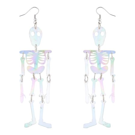 Lux Accessories White AB Skeleton Body Halloween Dress Up Dangle Earrings](Halloween 4 Ab 18)