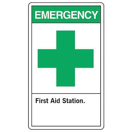 "First Aid Sign, Accuform Signs, MRSD901VP, 10""Hx7""W"
