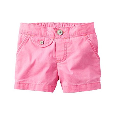 Little Girls' Flap Pocket Neon Pink Shorts, 4 Kids