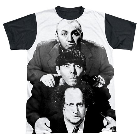 Three Stooges Men's  Three Stacked Sublimation T-shirt White](Three Stooges Golf)
