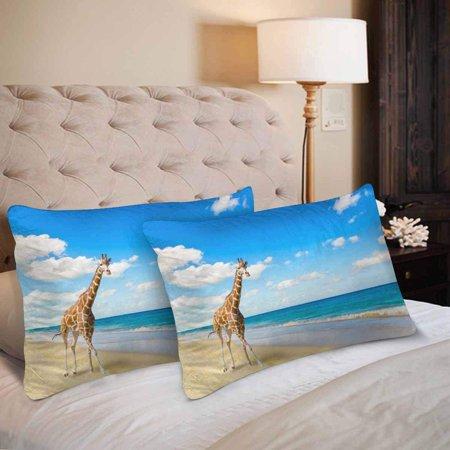 GCKG Giraffe Runs Sand at Seacoast Pillow Cases Pillowcase 20x30 inches Set of 2 - image 2 de 4
