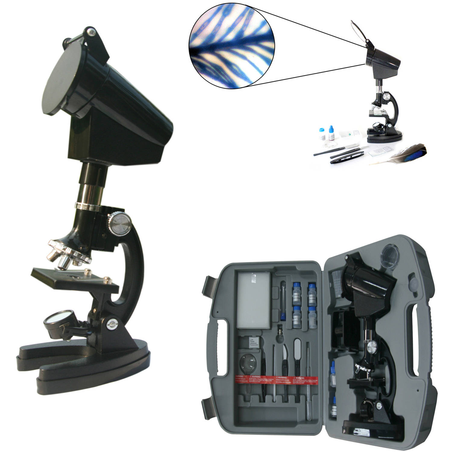 Cassini 98-Piece 1200X Microscope Kit, Black