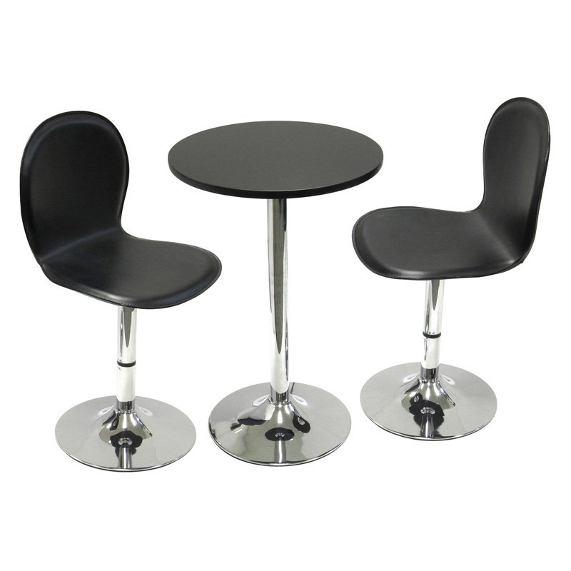 Winsome Spectrum 3 Piece Small Metal & Wood Round Dining Set - 19.7 in.
