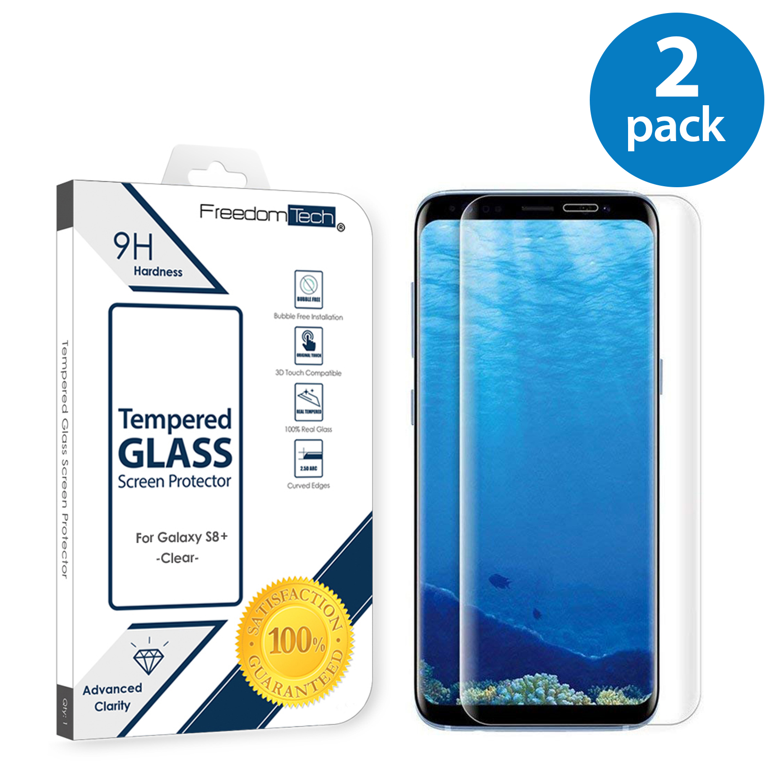 2x Samsung Galaxy S8 Plus Screen Protector Glass Full Cover 3D Curved Case Friendly Screen Protector Tempered Glass for Samsung Galaxy S8 Plus Clear
