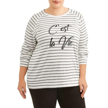Angels Womens Plus Size Vintage Cest La Vie Sweatshirt