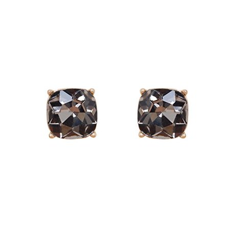 Humble Chic Women's Faceted Square Studs Grey Cushion Cut Large Jewel Statement Post Earrings
