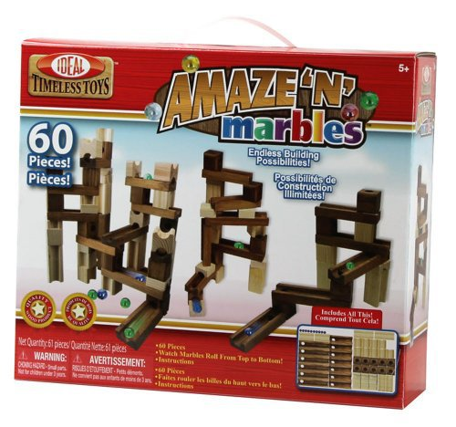Ideal Amaze N Marbles 60 Piece  Classic Wood Construction...