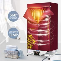 Electric Portable Clothes Dryer - Laundry Drying Rack with High Powered 1500W 110-240V Heater and Germ Killing UV Light Sanitation - Compact Capacity