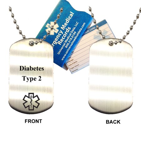 Diabetes Type 2 Stainless Steel Medical Alert ID Dog Tag Pendant