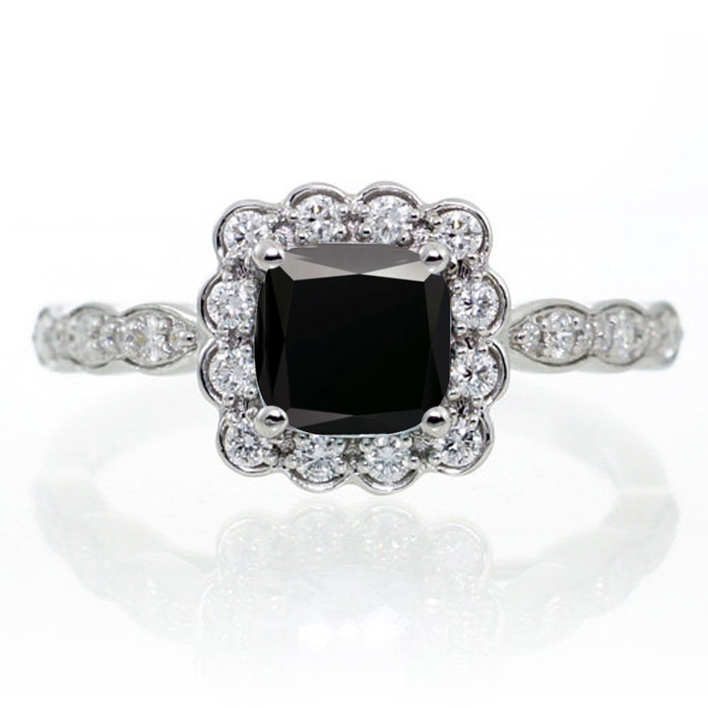 Jeenjewels 2 Carat Princess Cut Black Diamond And Wedding Ring Set On 10k White Gold
