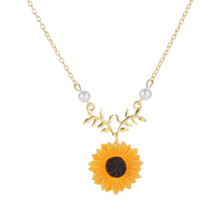 - Sunflower Leaf Branch Necklace Girls Charm Gold Plated Twig Pendant Necklaces Women Jewelry Accessory Gift
