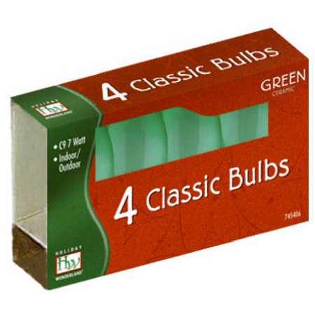 Christmas Lights Replacement Bulb, C9, Green Ceramic, 4 PK., Noma, 1094G-88 ()