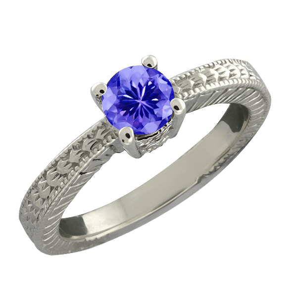 0.45 Ct Round Purple Amethyst Sterling Silver Ring