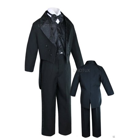 K8 INFANT TODDLER & BOY WEDDING PARTY FORMAL TAIL TUXEDO BLACK S M L XL 2T 3T-20 - Tail Tuxedo