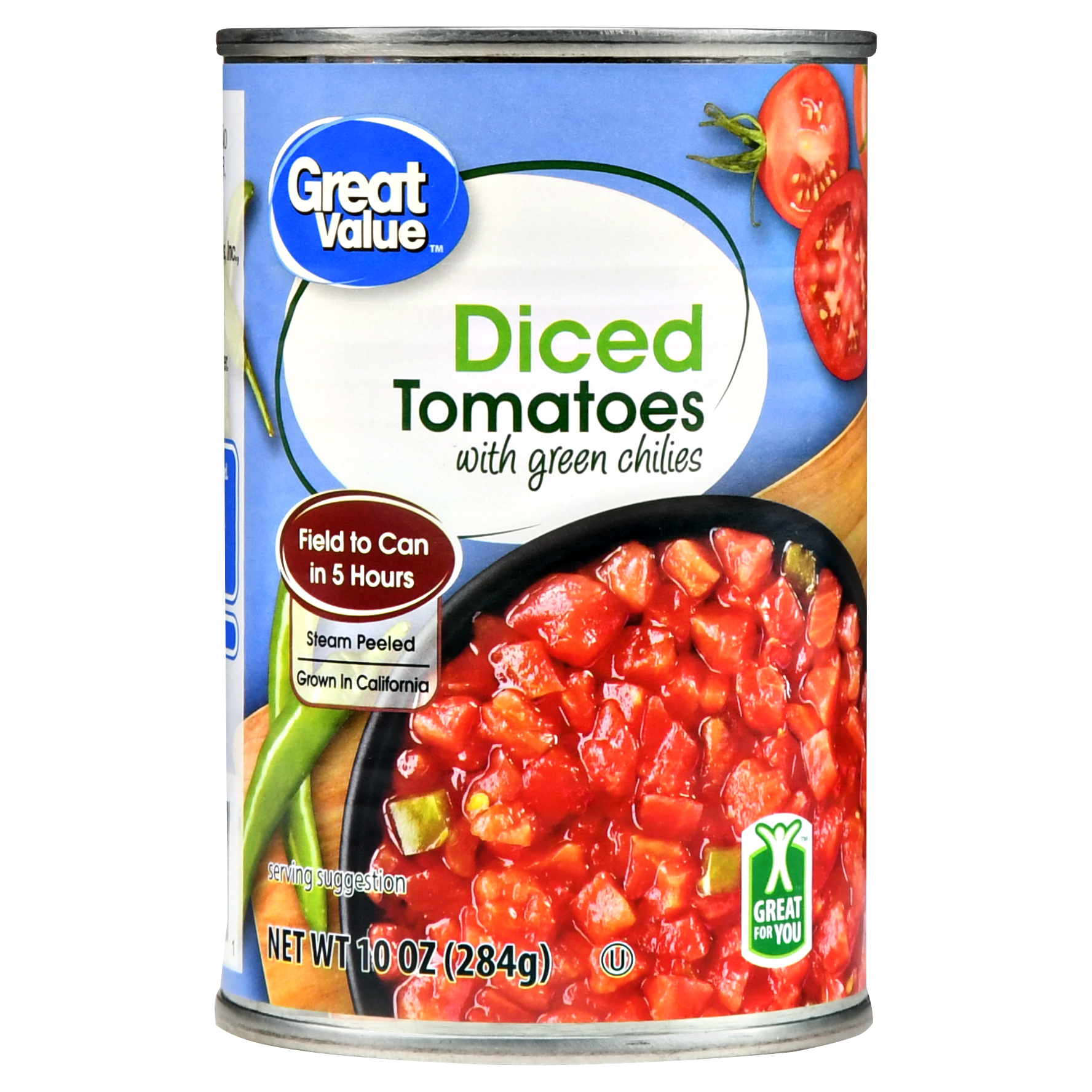 Great Value Diced Tomatoes with Green Chilies, 10 oz