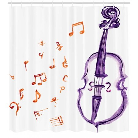 Music Shower Curtain Musical Notes Instrument Violin Cello In Watercolors Style White Backdrop Print Fabric Bathroom Set With Hooks Purple And Red