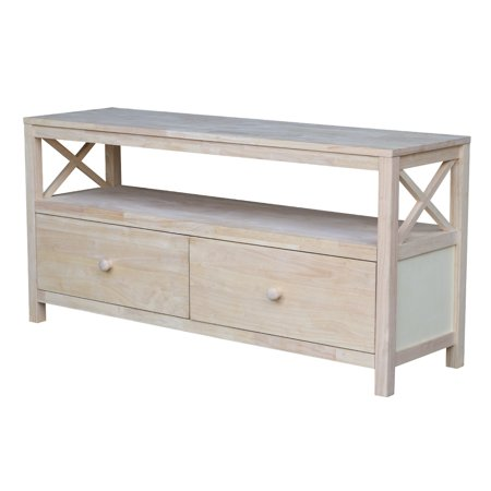 Unfinished Wood Tv Stand - Hampton Unfinished Entertainment/TV Stand with X Sides for TVs up to 60